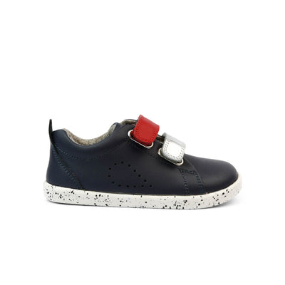 Bobux I Walk Grass Court Switch Kids Navy (Red + Silver Metallic) Side