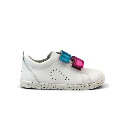 Bobux I Walk Grass Court Switch Kids White (Raspberry Metallic + Peacock Metallic) Side