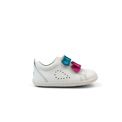 Bobux Step Up Grass Court Switch Kids White (Raspberry Metallic + Peacock Metallic) Side