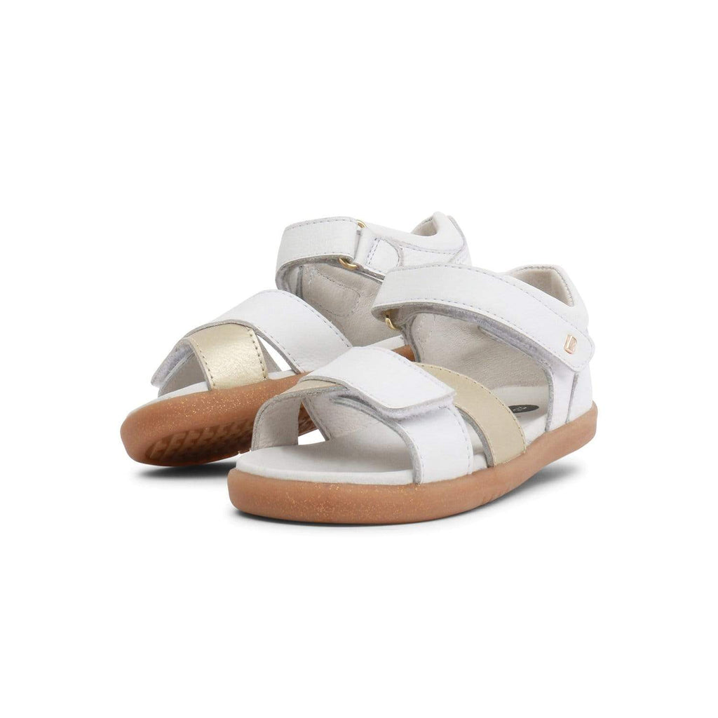 Bobux I-Walk Sail Open Sandal Kids White + Misty Gold - Sole Mechanics Natural Motion Footwear - Australia & New Zealand