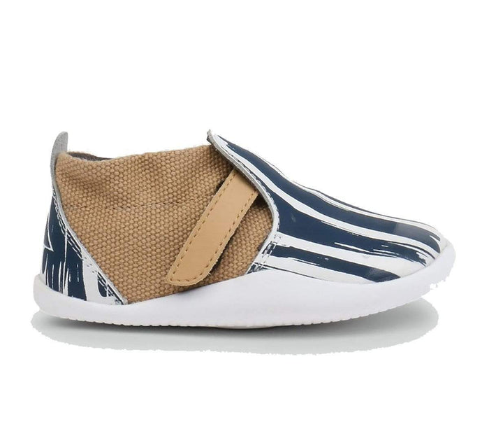 Bobux Kids Bobux Step Up Xplorer Kids Paint White Navy Bobux SU Xplorer Paint White Navy | Sole Mechanics Barefoot Shoes