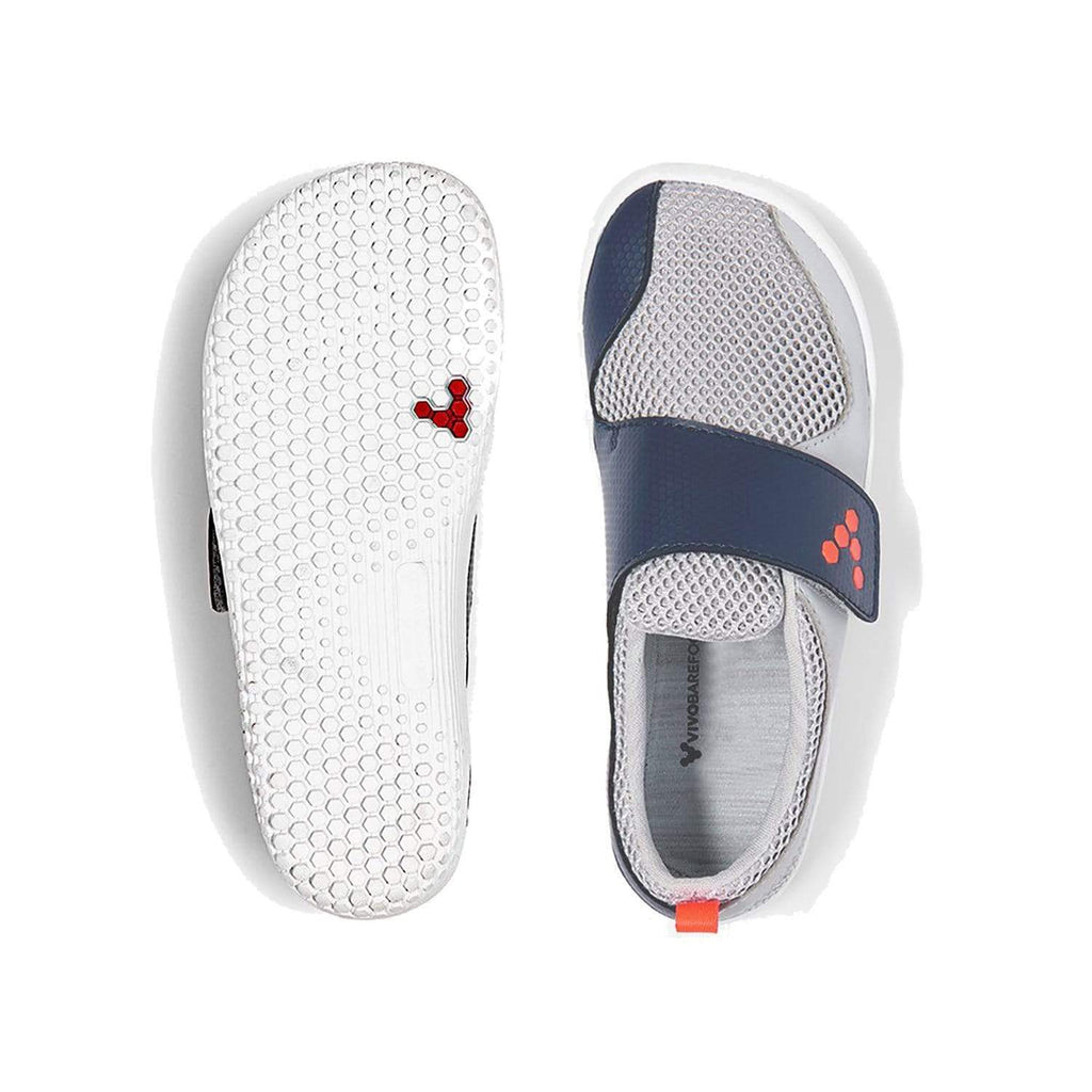 Vivobarefoot Primus Kids Grey Navy Orange - Top and Sole View
