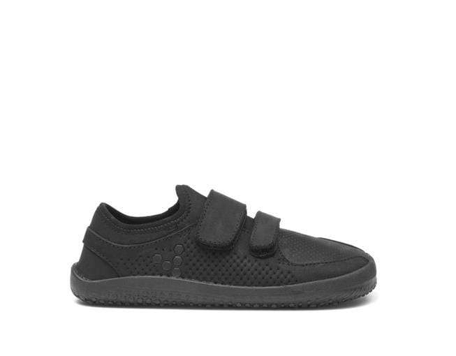 Vivobarefoot Primus School Kids Black Leather Double Strap  - Right Side View