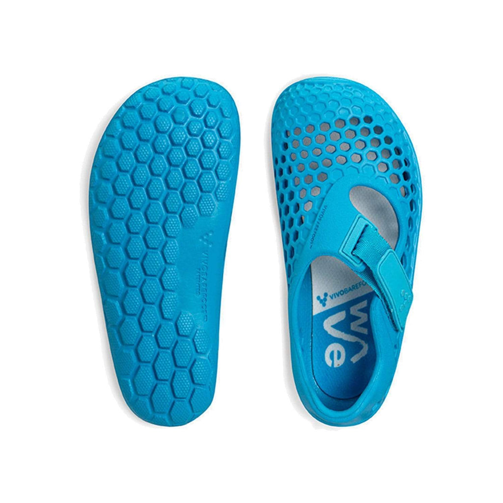 VIVOBAREFOOT Kids Vivobarefoot Ultra Bloom Kids Wave Blue - Top and Sole View