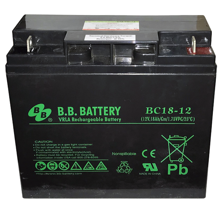 Battery (12 volt, 18 amp-hour)