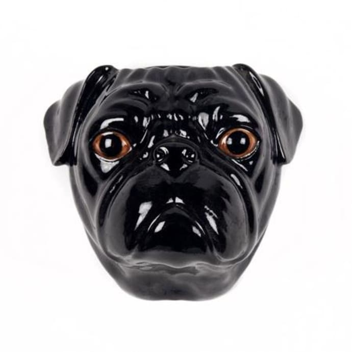 Wall hanging animal vase Pug Black