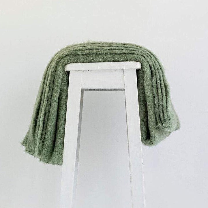 Olive Mohair Throw