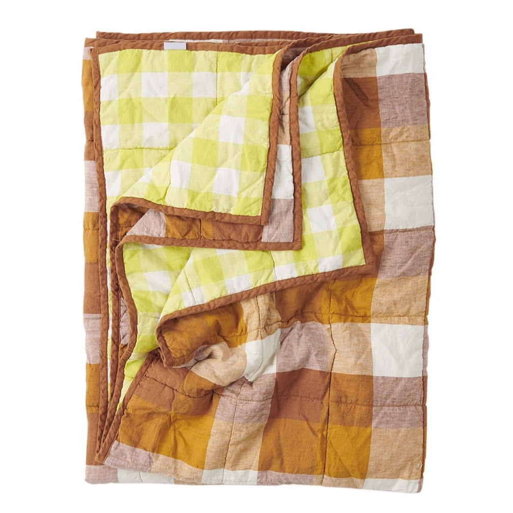 Limoncello/Biscuit Double Sided Linen Quilt - Standard