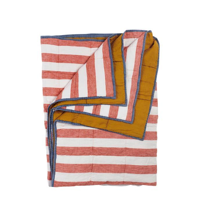 Cherry Stripe/Turmeric Double Sided Linen Quilt - Standard