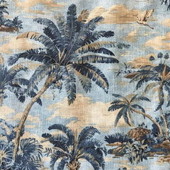 "Blue 'Bahama Palm"" colonial print"