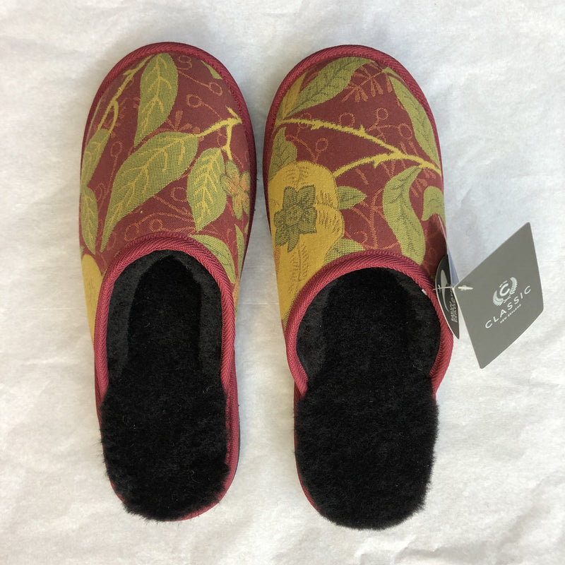 Slippers with Morris & Co Fruit Crimson XL/Black