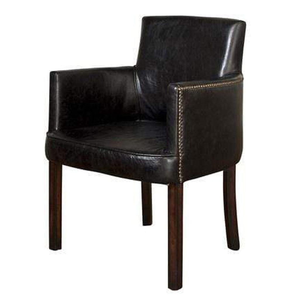Ithaca Carver Chair - Black Leather