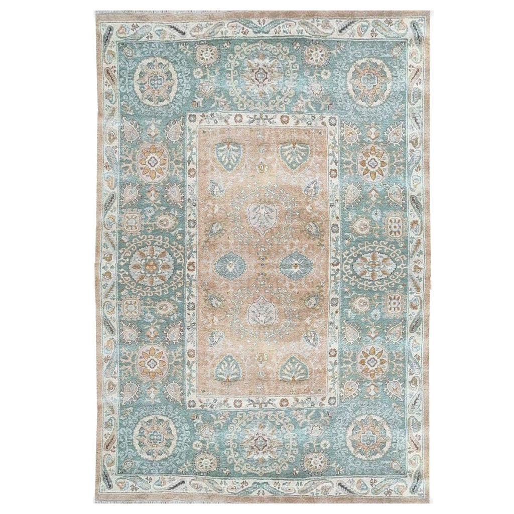NZ Wool hand knotted rug made in India blue