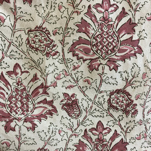 Creme De Cassis indian Block Print on 100% organic cotton