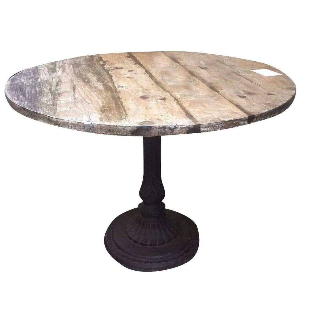 Round Wood and Cast Iron Table