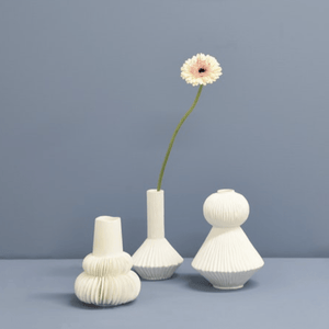 Pleated Frill Vase - White
