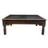 Wood Block Glass Top Coffee Table