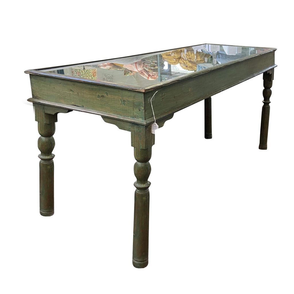 Original Carved Green Console with Glass Top