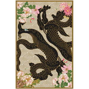 Wendy Morrison Rugs Dragon Floral Black and Gold | Pre Order