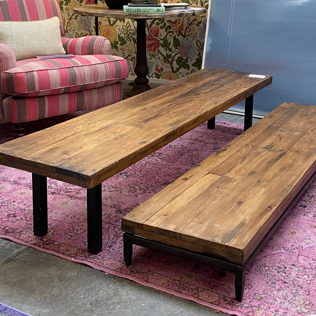 Low Teak and Steel Bench