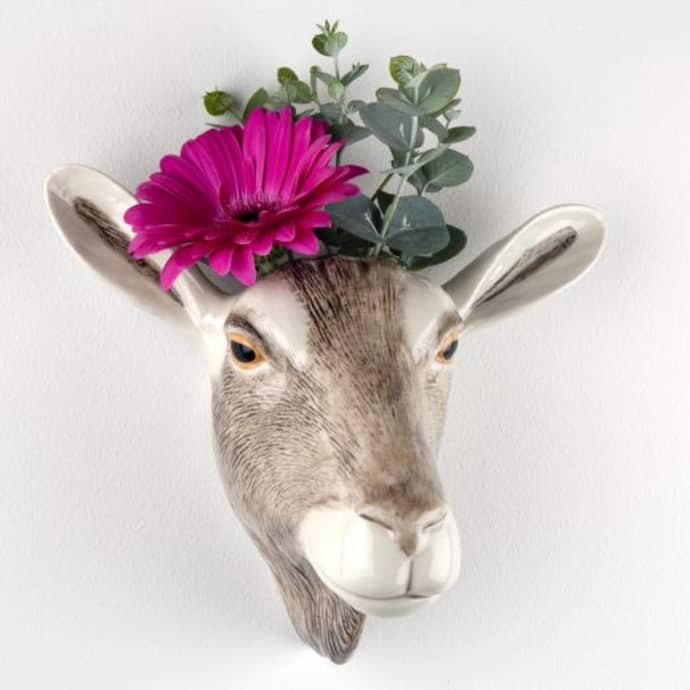 Wall hanging animal vase British Toggenburg Goat
