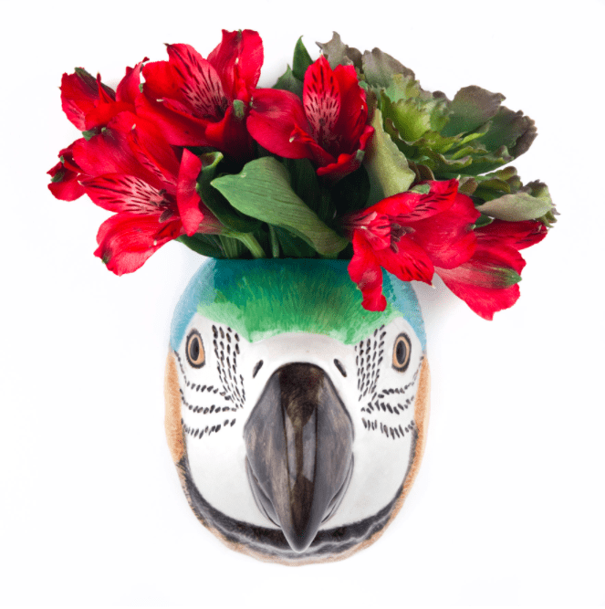 Wall Hanging Animal Vase Macaw