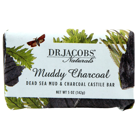 Exfoliating Castile Bar Soap - Muddy Charcoal (Dead Sea Mud & Activated Charcoal) - Dr. Jacobs Naturals