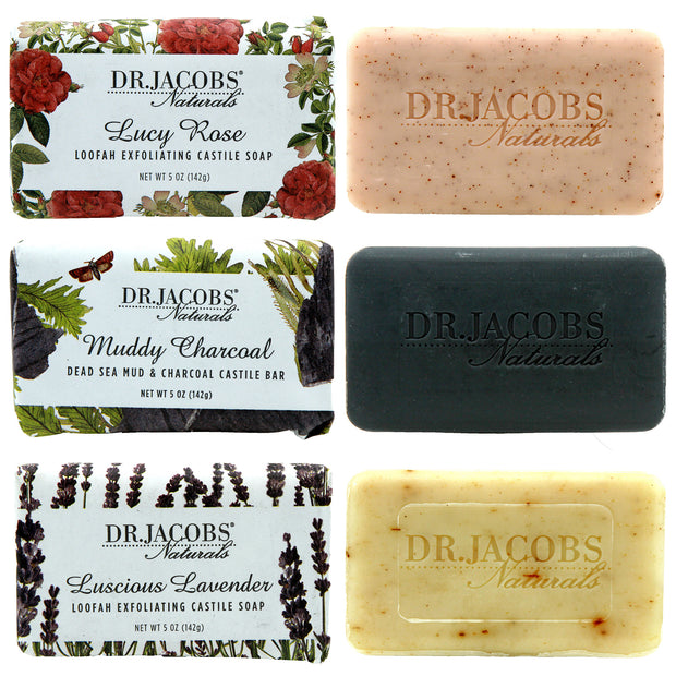 Soothe + Detox Exfoliating Castile Bar Soap Set - Dr. Jacobs Naturals