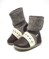 Embroidered Felted Wool Booties Caribou