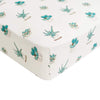 Printed Fitted Crib Sheet in Succulent