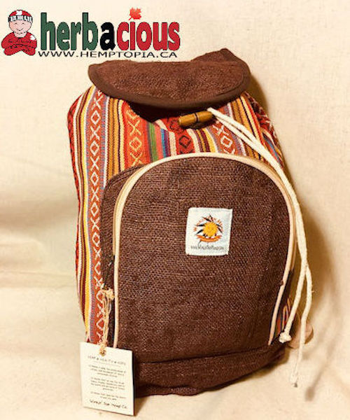 100% Hemp Drawstring Back Pack(brown)