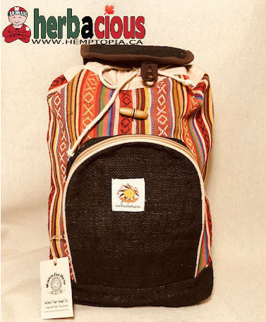 100% Hemp Drawstring Back Pack(black)