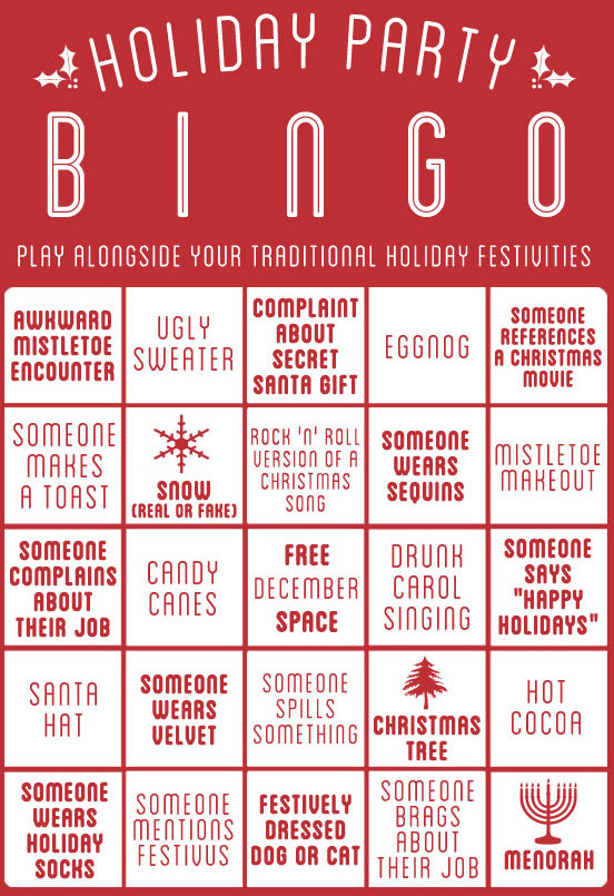 Funny Holiday Party Bingo Cards to Play With Your Family