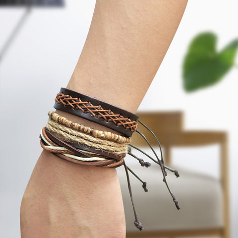 Handmade Adjustable Woven Leather Rope Bracelet