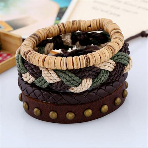 Vintage Leather Braid Beaded Wrap Bracelets
