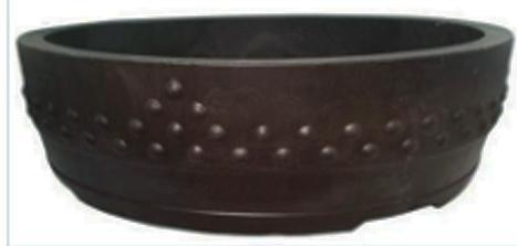 "ROUND DRUM MICA BONSAI POT - 14"" X 4.25"""