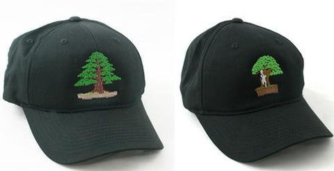 Two Bonsai Embroidered Black Baseball Caps