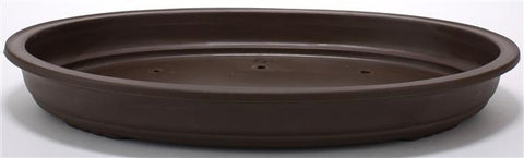 Large Low Oval High Impact Plastic Bonsai Pot - Brown