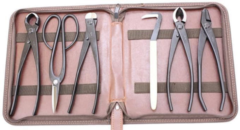 Roshi Set of 6 High Carbon Steel Bonsai Tools in Zippered Case