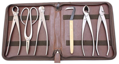 6 Piece ( 5 Stainless & 1 Carbon Steel) Bonsai Tool Kit by Roshi Tools