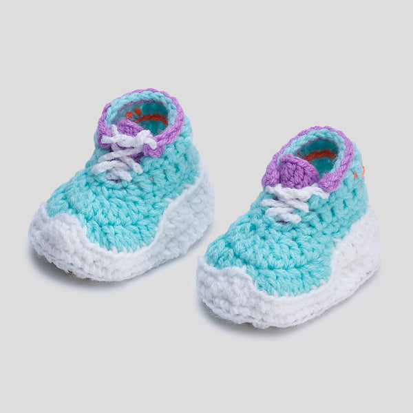 Baby Crochet Itzzy Runners Teal (Soft Leather Bottom)