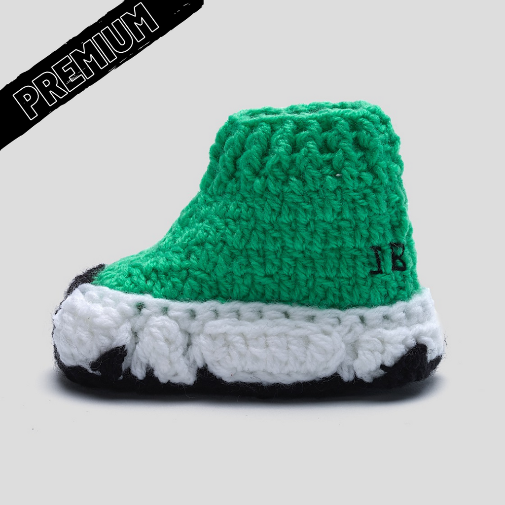Baby Crochet IB Sock Runners Green (non-slip bottom & shoe box)