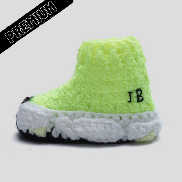 Baby Crochet IB Sock Runners Highlighter Yellow (non-slip bottom & shoe box)
