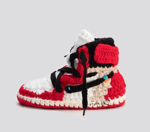 Crochet IB-1 OFF-W SLIPPERS TODDLER & KIDS (INCLUDES 3 DIFFERENT COLOR LACES)