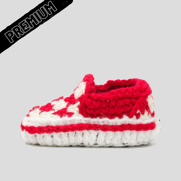 Baby Crochet IB-Slip-On Red (non-slip bottoms & shoe box)