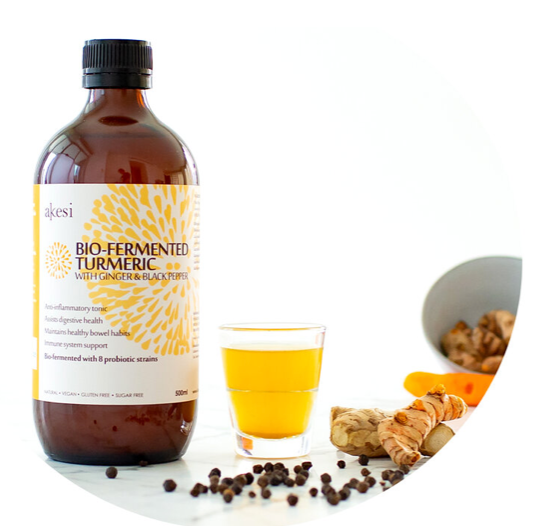 Bio-fermented turmeric with ginger and black pepper probiotic tonic