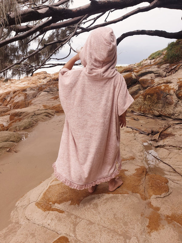Kids Terry Beach Poncho - Dusty Pink (ONLINE EXCLUSIVE)