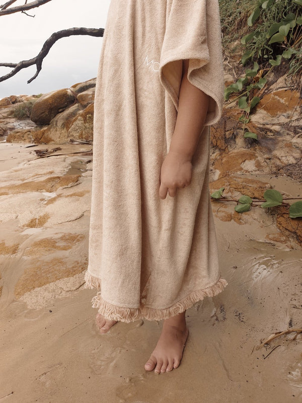 Kids Terry Beach Poncho - Sand (ONLINE EXCLUSIVE)