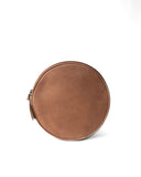 fred leather round leather clutch tan back