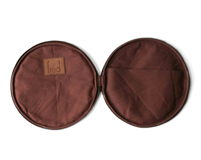 fred leather round leather clutch with cotton lining and pocket